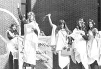 Students giving a demonstration in the peace garden during the Womens Liberation Movement in the 1970s, image courtesy of the University Archives