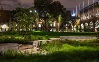rain garden at night